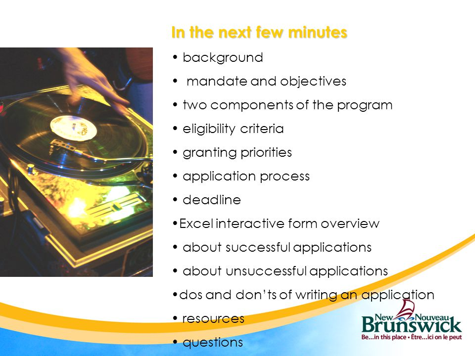 In the next few minutes background mandate and objectives two components of the program eligibility criteria granting priorities application process d