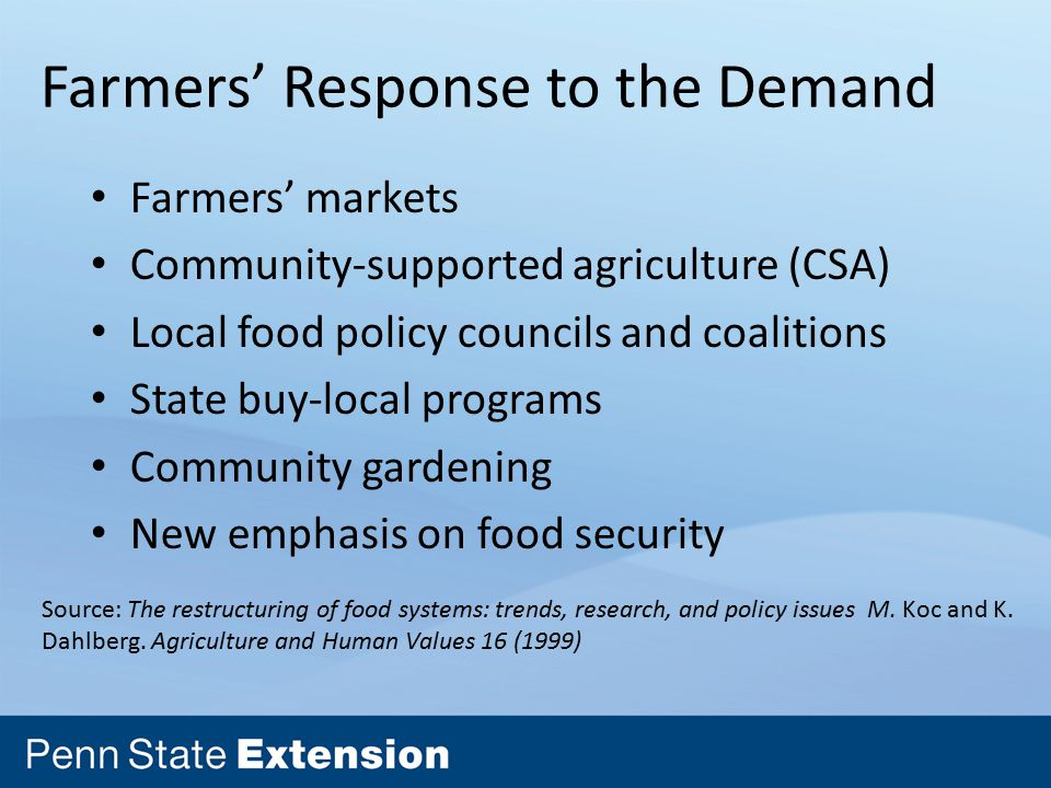 Farmers' Response to the Demand Farmers' markets Community-supported agriculture (CSA) Local food policy councils and coalitions State buy-local programs Community gardening New emphasis on food security Source: The restructuring of food systems: trends, research, and policy issues M.