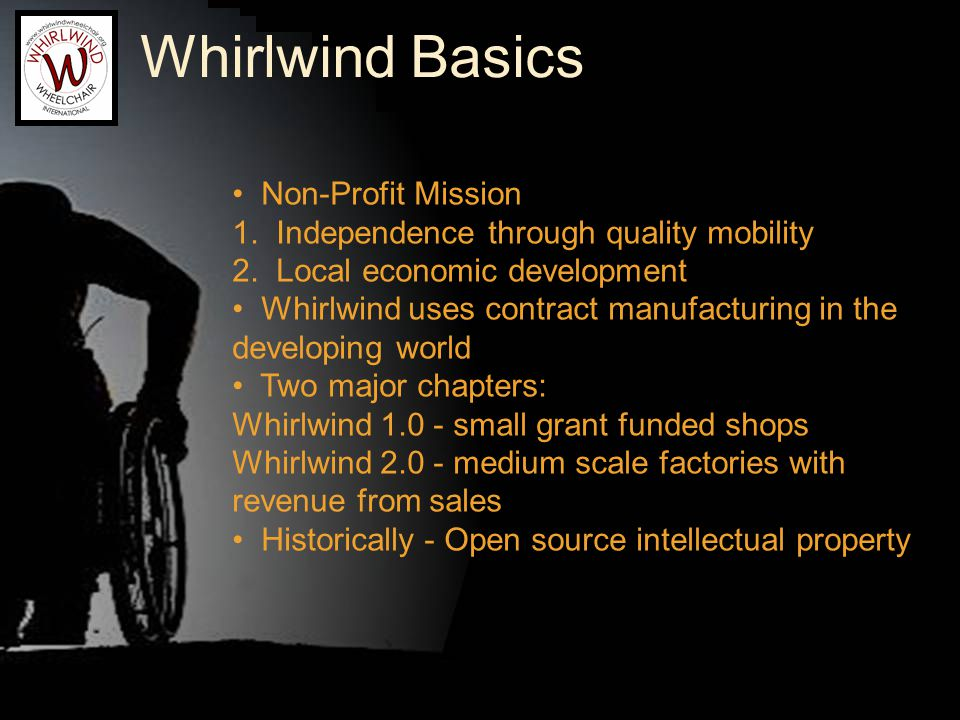 1979: Managua, Nicaragua Ralf Hotchkiss found: Four young men sharing one wheelchair Inappropriate technology Ralf and friends created: Local designs and parts Low capital requirement Employment for riders