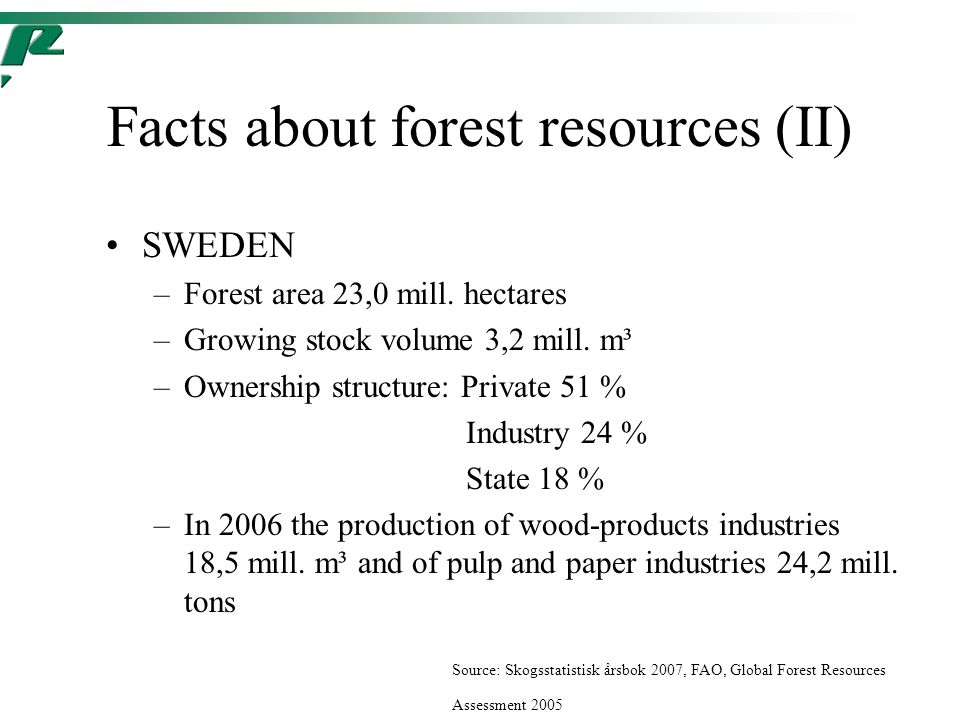 Facts about forest resources (II) SWEDEN –Forest area 23,0 mill.