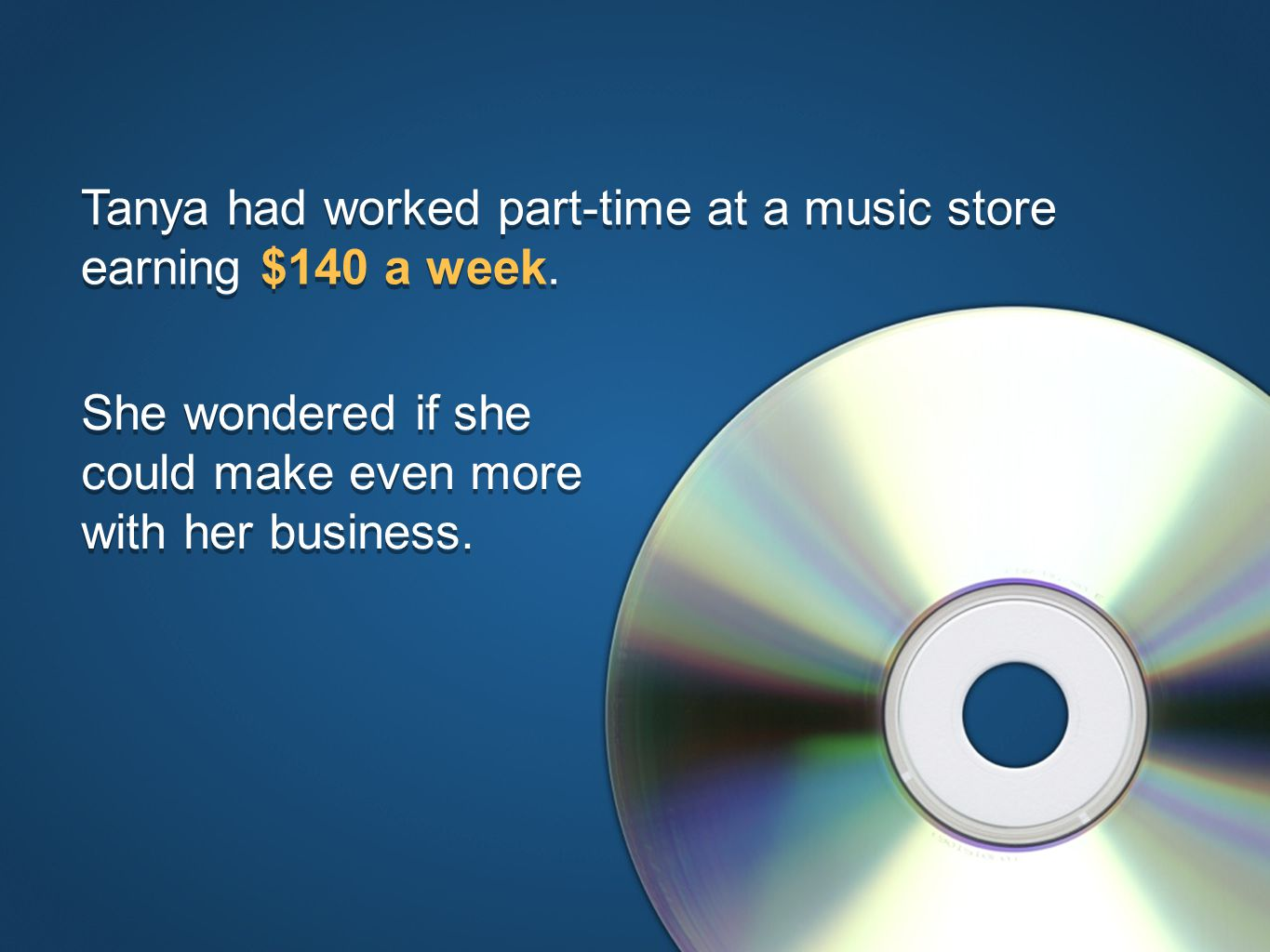© The National Foundation for Teaching Entrepreneurship (www.nfte.com)www.nfte.com Tanya had worked part-time at a music store earning $140 a week.