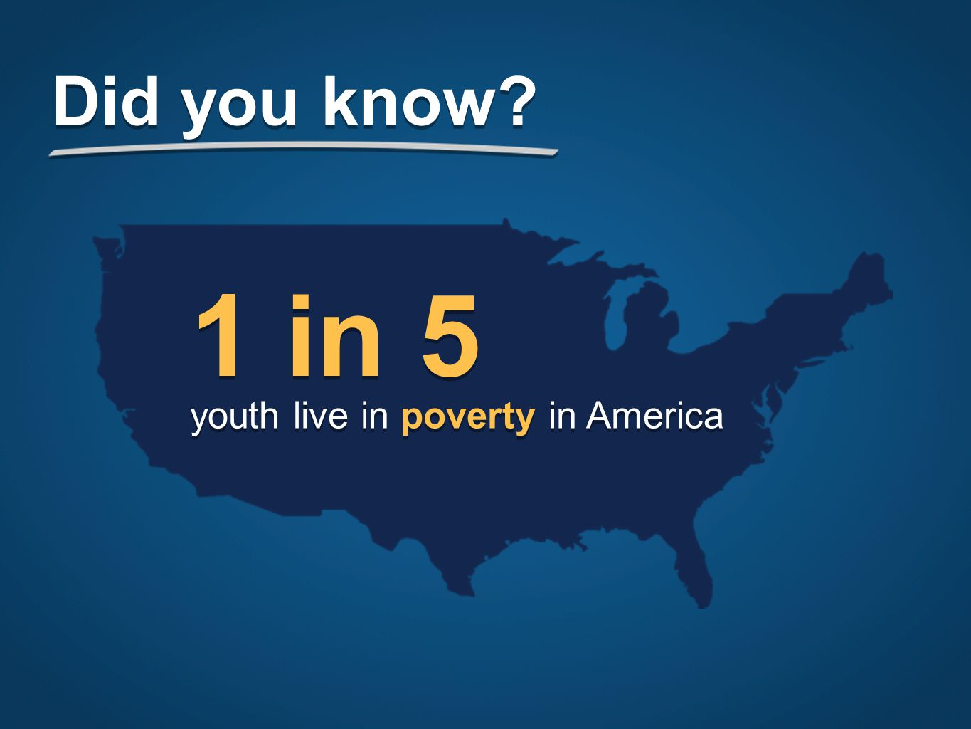 1 in 5 youth live in poverty in America Did you know
