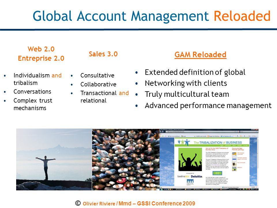 © Olivier Riviere / Mmd – GSSI Conference 2009 Global Account Management Reloaded Web 2.0 Entreprise 2.0 Individualism and tribalism Conversations Complex trust mechanisms GAM Reloaded Sales 3.0 Consultative Collaborative Transactional and relational Extended definition of global Networking with clients Truly multicultural team Advanced performance management