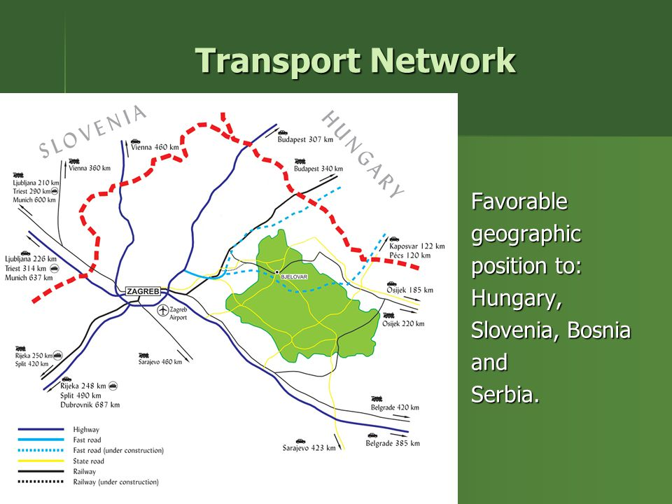 Transport Network Favorablegeographic position to: Hungary, Slovenia, Bosnia andSerbia.