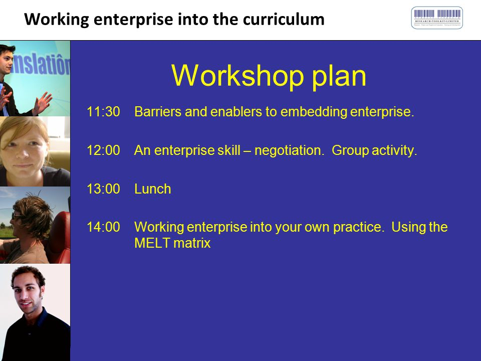 Working enterprise into the curriculum Workshop plan 11:30Barriers and enablers to embedding enterprise.
