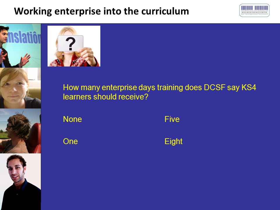 Working enterprise into the curriculum How many enterprise days training does DCSF say KS4 learners should receive.