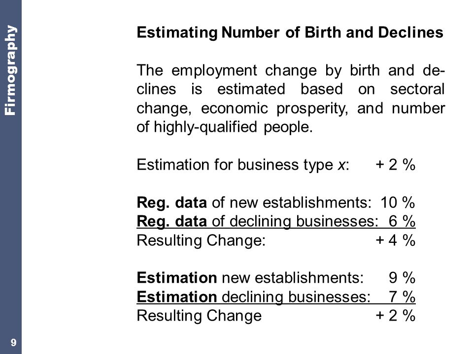 9 Estimating Number of Birth and Declines The employment change by birth and de- clines is estimated based on sectoral change, economic prosperity, and number of highly-qualified people.