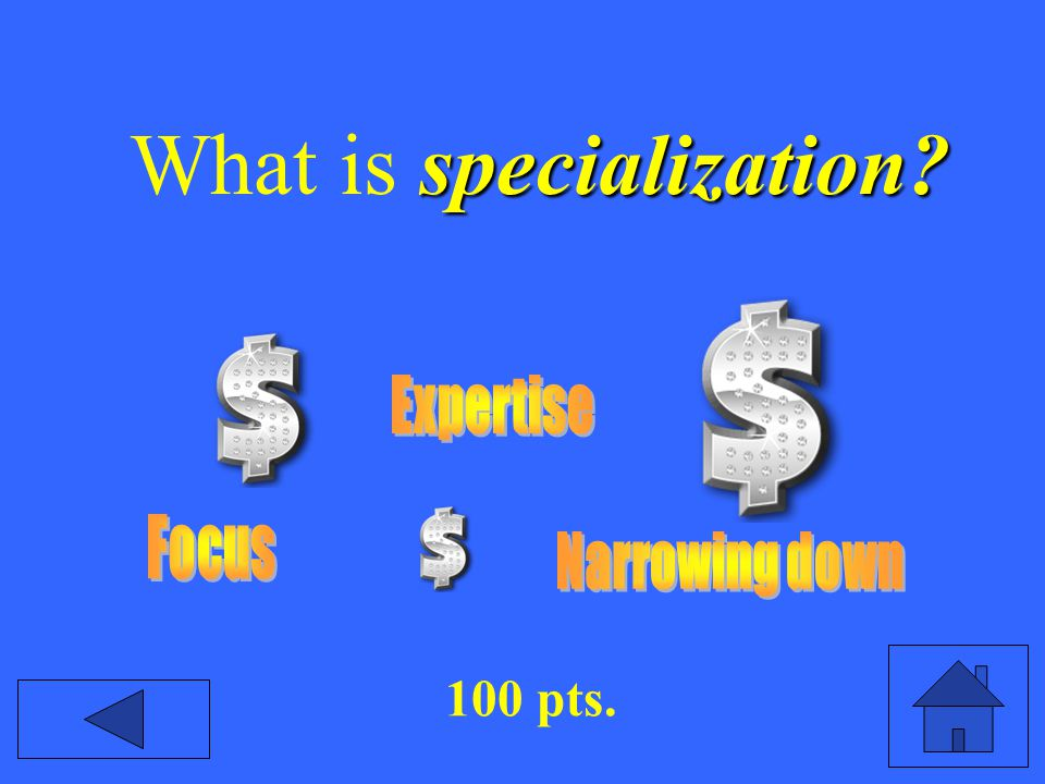 specialization? What is specialization? 100 pts.