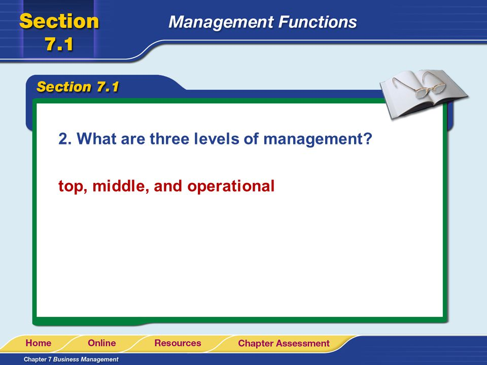 2.What are three levels of management? top, middle, and operational