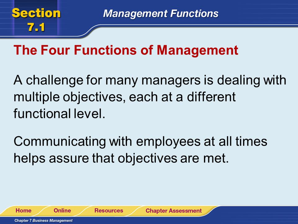The Four Functions of Management A challenge for many managers is dealing with multiple objectives, each at a different functional level. Communicatin
