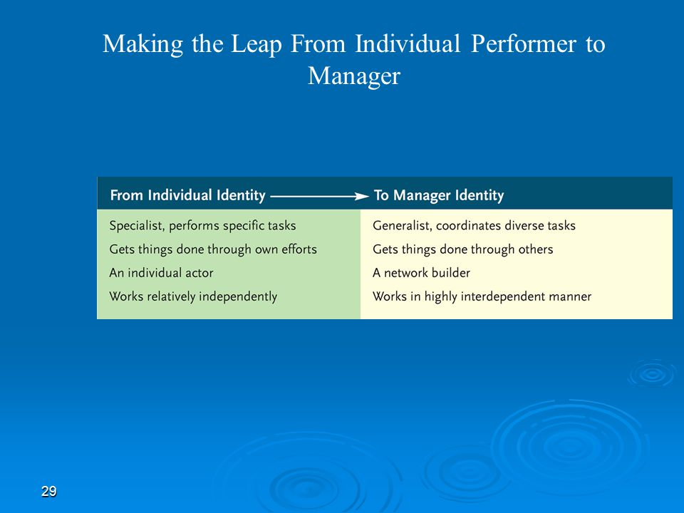 29 Making the Leap From Individual Performer to Manager