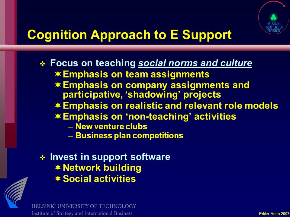 Erkko Autio 2003 Cognition Approach to E Support v Focus on teaching social norms and culture ¬Emphasis on team assignments ¬Emphasis on company assignments and participative, 'shadowing' projects ¬Emphasis on realistic and relevant role models ¬Emphasis on 'non-teaching' activities –New venture clubs –Business plan competitions v Invest in support software ¬Network building ¬Social activities