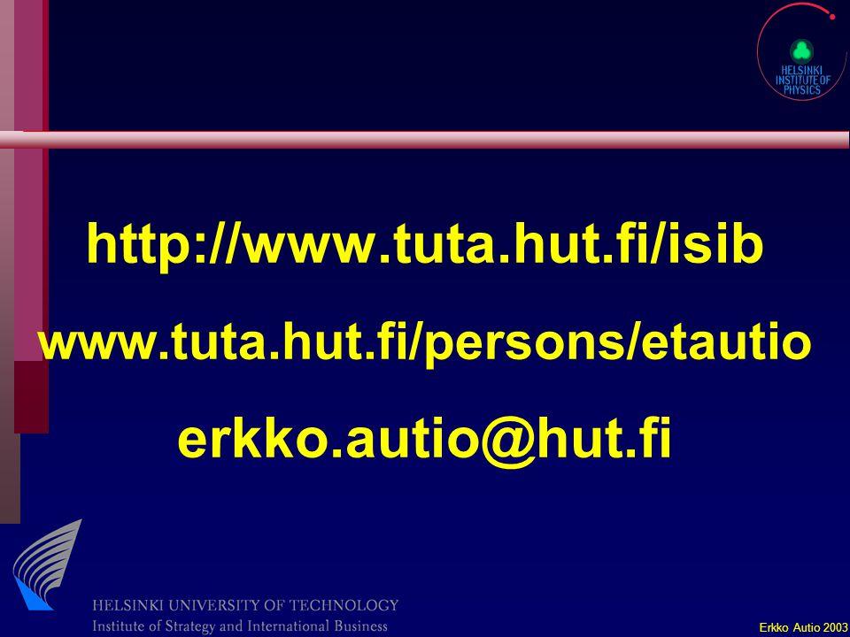 Erkko Autio 2003 http://www.tuta.hut.fi/isib www.tuta.hut.fi/persons/etautio erkko.autio@hut.fi