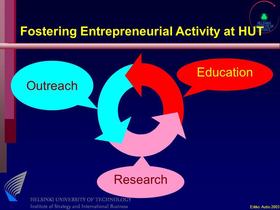 Erkko Autio 2003 Fostering Entrepreneurial Activity at HUT Education Outreach Research