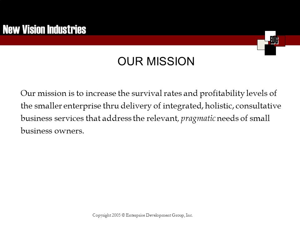 New Vision Industries ENTREPRENUERIAL DEVELOPMENT Entrepreneur (Client) Access to Capital & Credit Lines New Facility Higher Supplier Credit Lines New Clients Contracts Increased Revenue Operational Procedures & Systems Employment Opportunities Business Protection Business Owner Development Outcome Business Owner (Client) Corporate & Gov't Relationships Sales & Marketing Leadership Development Organizational Management Funding & Contracting Business Support Services Financial Management Supplier Credit Holistic Copyright 2005 © Enterprise Development Group, Inc.