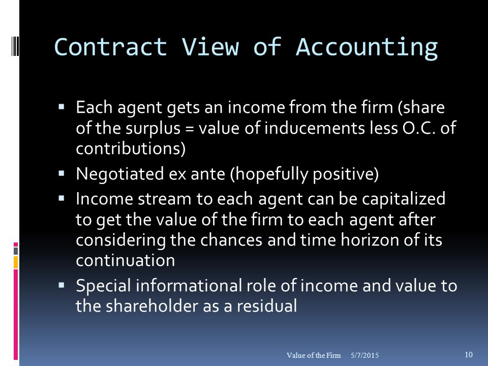 Contract View of Accounting  Each agent gets an income from the firm (share of the surplus = value of inducements less O.C.