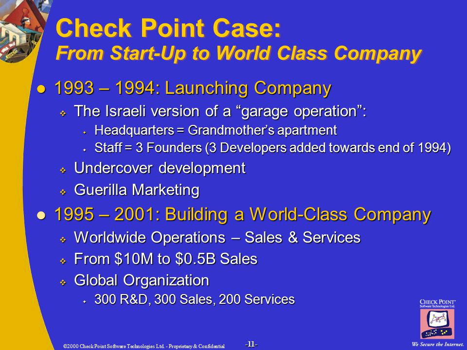 ©2000 Check Point Software Technologies Ltd. - Proprietary & Confidential -11- Check Point Case: From Start-Up to World Class Company 1993 – 1994: Lau