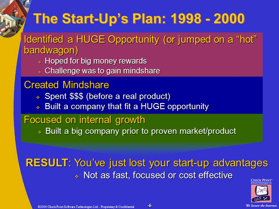 ©2000 Check Point Software Technologies Ltd. - Proprietary & Confidential -6- The Start-Up's Plan: 1998 - 2000 Identified a HUGE Opportunity (or jumpe