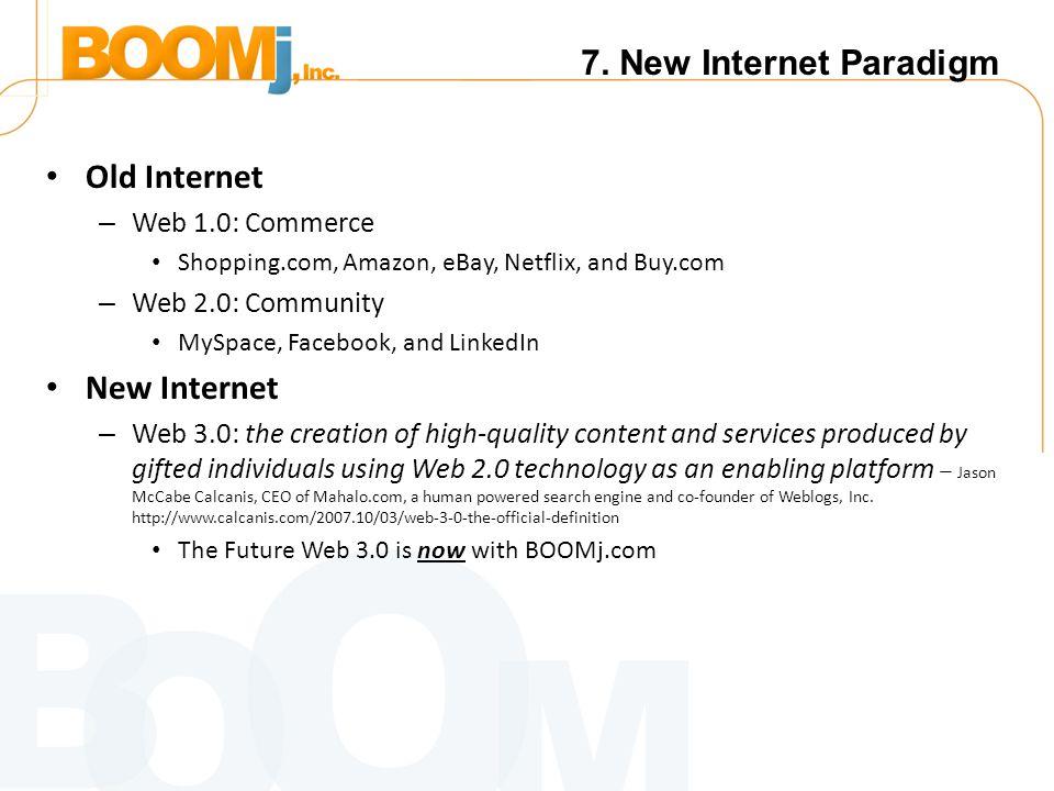 7. New Internet Paradigm Old Internet – Web 1.0: Commerce Shopping.com, Amazon, eBay, Netflix, and Buy.com – Web 2.0: Community MySpace, Facebook, and