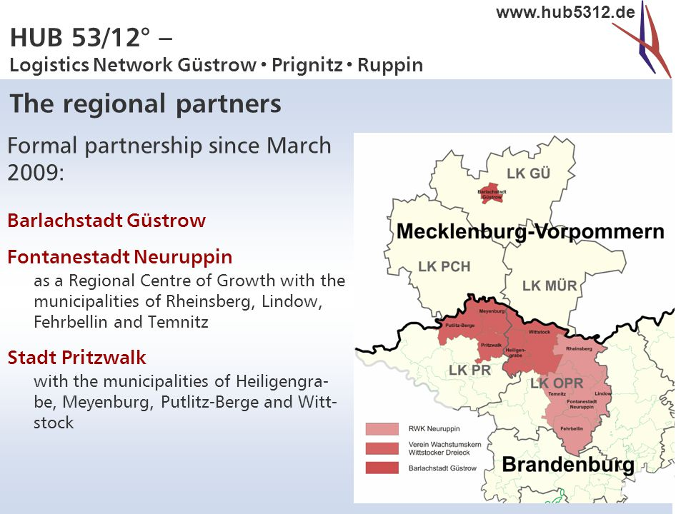 HUB 53/12° – Logistics Network Güstrow  Prignitz  Ruppin www.hub5312.de Formal partnership since March 2009: Barlachstadt Güstrow Fontanestadt Neuruppin as a Regional Centre of Growth with the municipalities of Rheinsberg, Lindow, Fehrbellin and Temnitz Stadt Pritzwalk with the municipalities of Heiligengra- be, Meyenburg, Putlitz-Berge and Witt- stock The regional partners