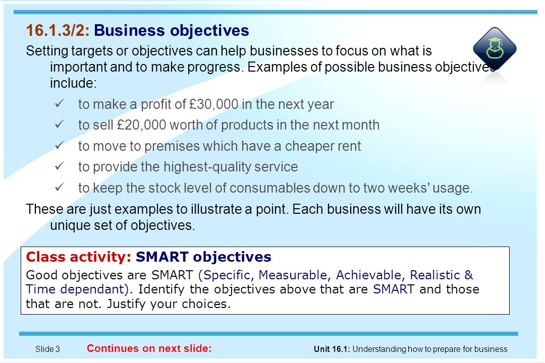 Slide 3 Unit 16.1: Understanding how to prepare for business Continues on next slide: 16.1.3/2: Business objectives Setting targets or objectives can help businesses to focus on what is important and to make progress.