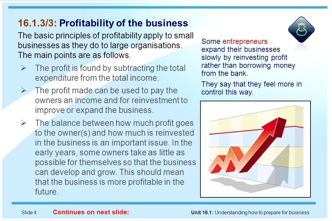 Slide 4 Unit 16.1: Understanding how to prepare for business Continues on next slide: 16.1.3/3: Profitability of the business The basic principles of