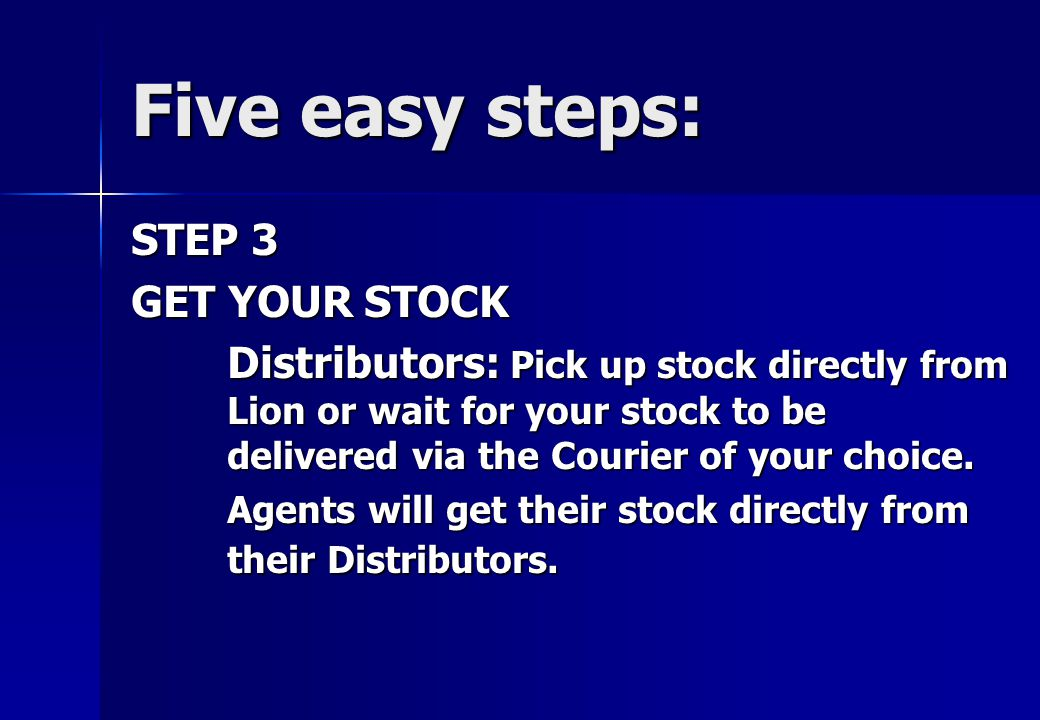 STEP 2 Note for Distributors: You can start as an agent then upgrade to a Distributor by getting a number of agents to buy starter packs from you.