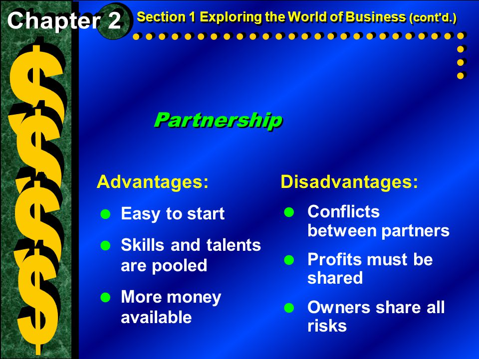 Partnership Advantages:  Easy to start  Skills and talents are pooled  More money available Disadvantages:  Conflicts between partners  Profits must be shared  Owners share all risks Section 1 Exploring the World of Business (cont d.)