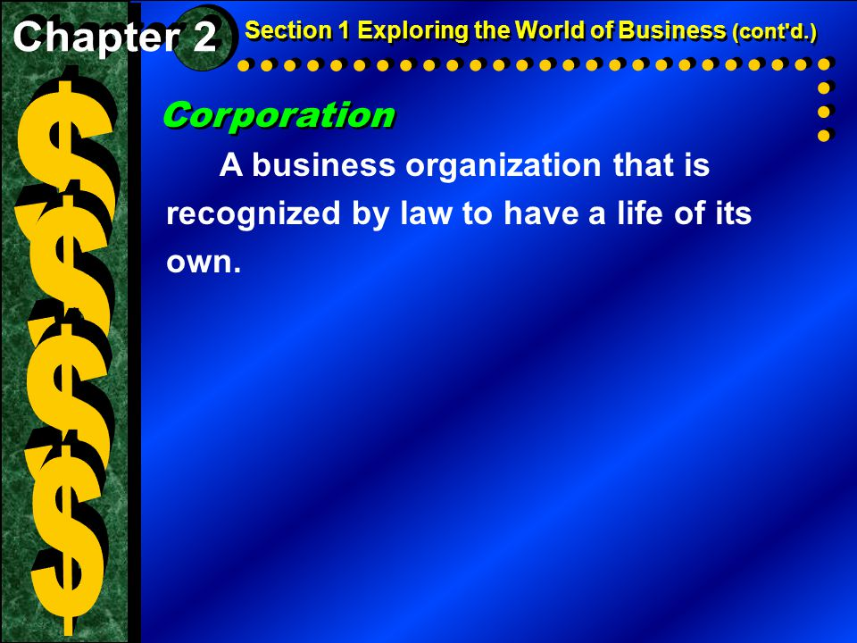 Corporation A business organization that is recognized by law to have a life of its own.