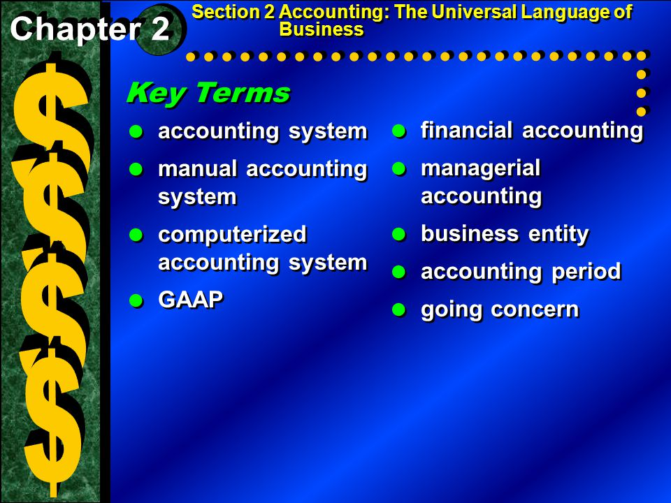 Section 2 Accounting: The Universal Language of Business Key Terms  accounting system  manual accounting system  computerized accounting system  GAAP Key Terms  accounting system  manual accounting system  computerized accounting system  GAAP  financial accounting  managerial accounting  business entity  accounting period  going concern  financial accounting  managerial accounting  business entity  accounting period  going concern