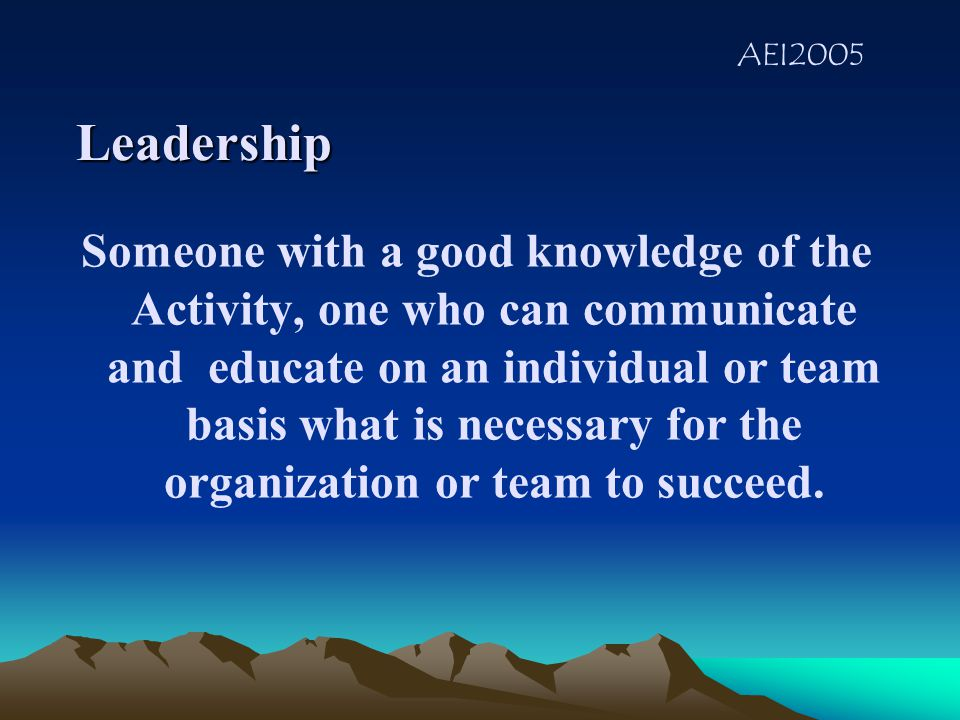 AEI2005 LEADERSHIP What qualities or traits makes a good leader