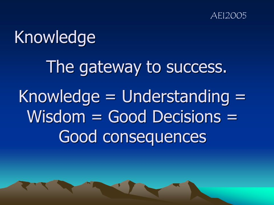 AEI2005 The Three pillars of the activity Knowledge The Invitation Teaching