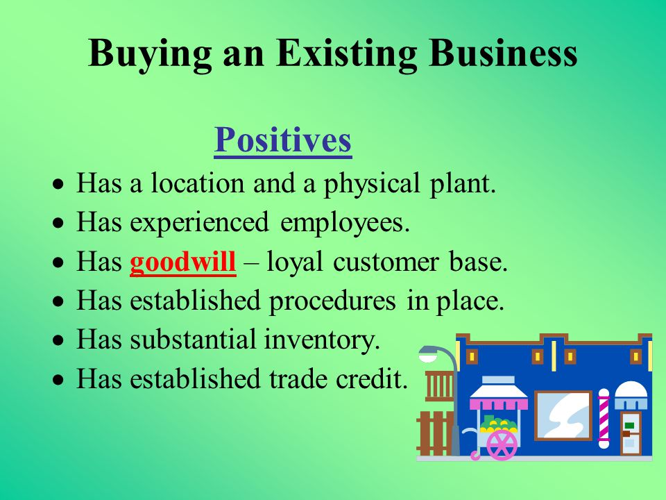 Buying an Existing Business Positives  Has a location and a physical plant.