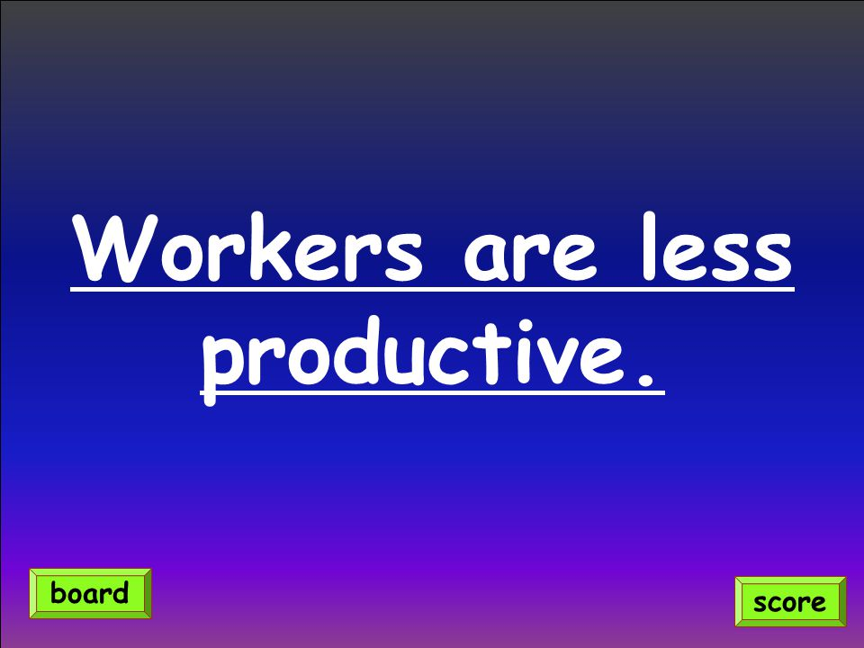 Workers are less productive. score board