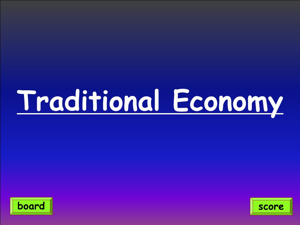 Traditional Economy score board