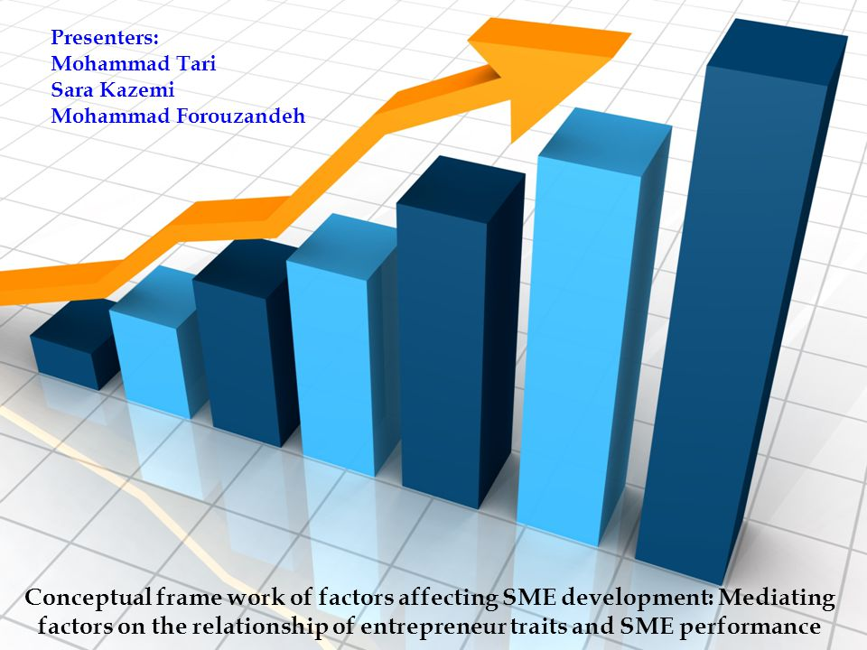 Presenters: Mohammad Tari Sara Kazemi Mohammad Forouzandeh Conceptual frame work of factors affecting SME development: Mediating factors on the relationship of entrepreneur traits and SME performance
