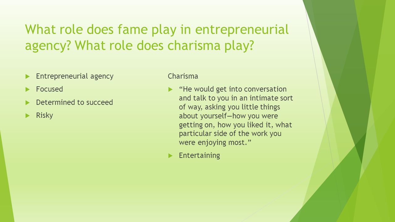 What role does fame play in entrepreneurial agency.