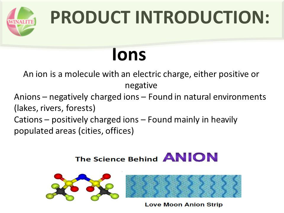 PRODUCT INTRODUCTION: Ions An ion is a molecule with an electric charge, either positive or negative Anions – negatively charged ions – Found in natural environments (lakes, rivers, forests) Cations – positively charged ions – Found mainly in heavily populated areas (cities, offices)