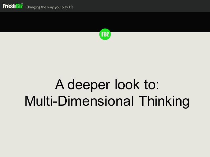 Multi Dimensional Thinking The more dimensions we master, the better results we get Businesses Action Cards Biz.