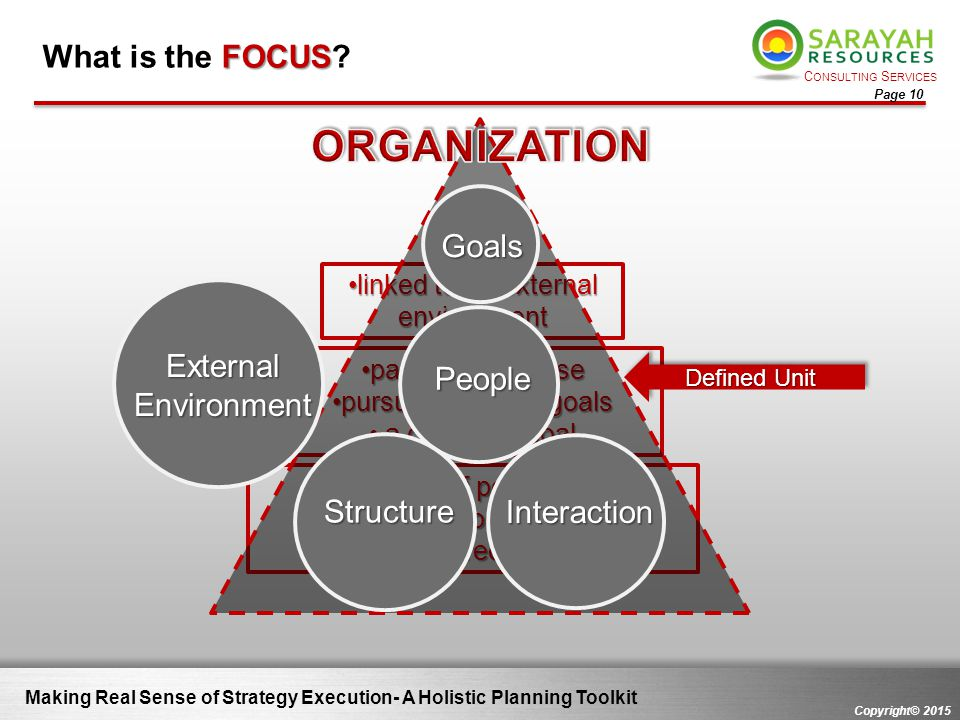 C ONSULTING S ERVICES Copyright© 2015 Page 10 Making Real Sense of Strategy Execution- A Holistic Planning Toolkit FOCUS What is the FOCUS? unit of pe