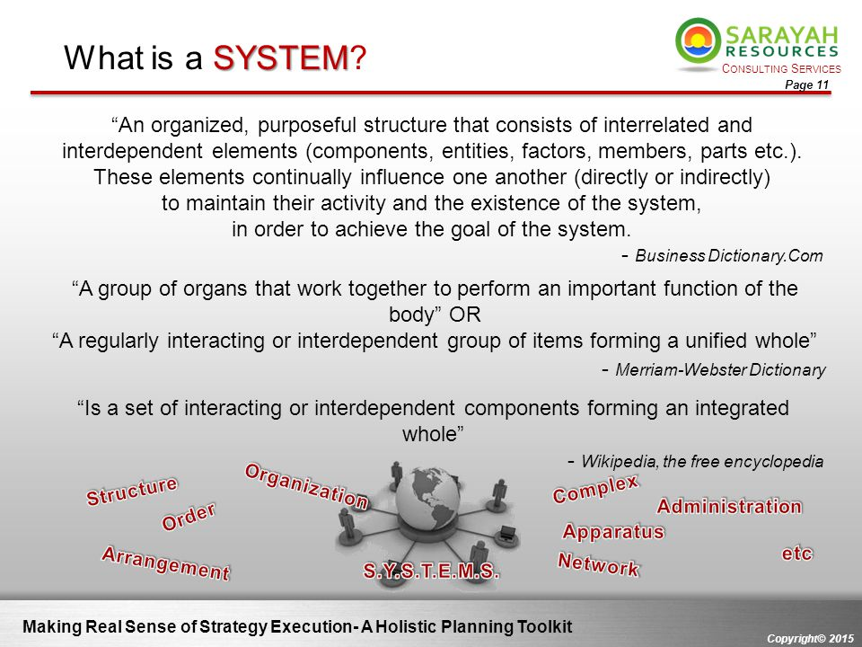 """C ONSULTING S ERVICES Copyright© 2015 Page 11 Making Real Sense of Strategy Execution- A Holistic Planning Toolkit """"An organized, purposeful structure"""