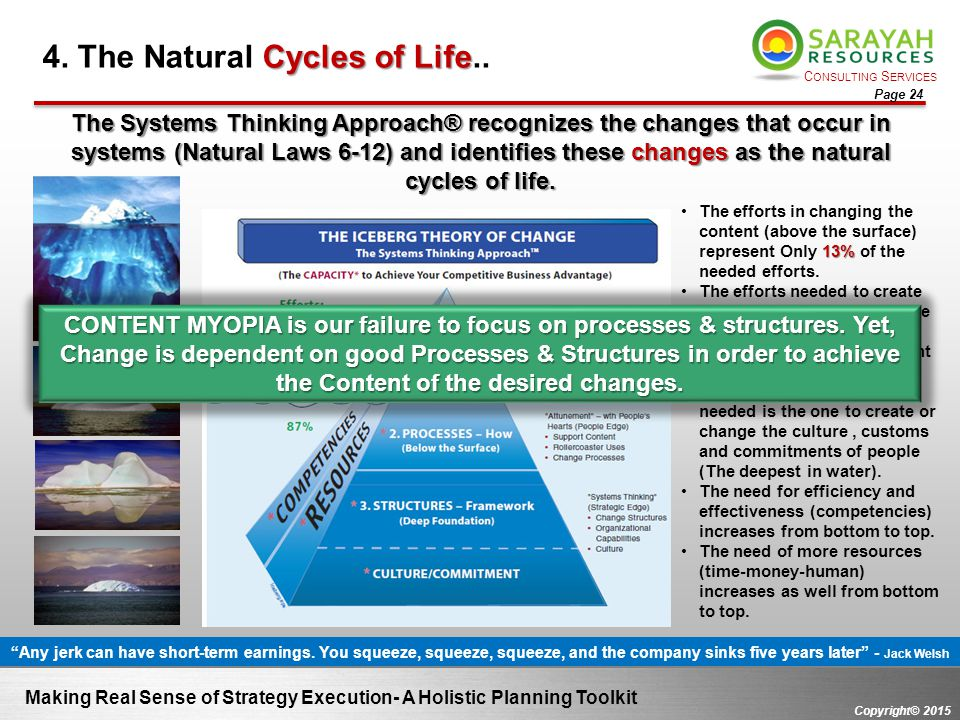 C ONSULTING S ERVICES Copyright© 2015 Page 24 Making Real Sense of Strategy Execution- A Holistic Planning Toolkit Cycles of Life 4. The Natural Cycle