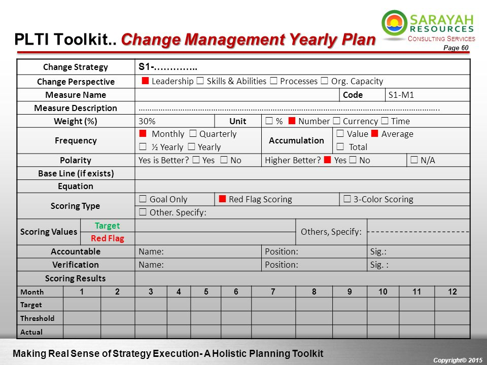 C ONSULTING S ERVICES Copyright© 2015 Page 60 Change Management Yearly Plan PLTI Toolkit.. Change Management Yearly Plan Making Real Sense of Strategy
