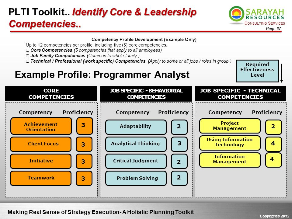 C ONSULTING S ERVICES Copyright© 2015 Page 67 Making Real Sense of Strategy Execution- A Holistic Planning Toolkit Competency Profile Development (Exa