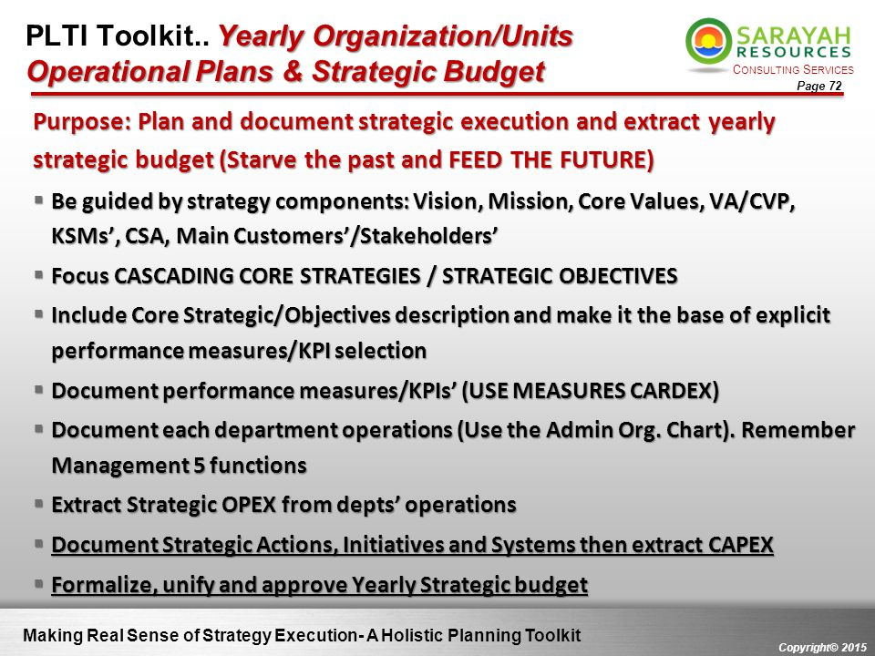 C ONSULTING S ERVICES Copyright© 2015 Page 72 Yearly Organization/Units Operational Plans & Strategic Budget PLTI Toolkit.. Yearly Organization/Units