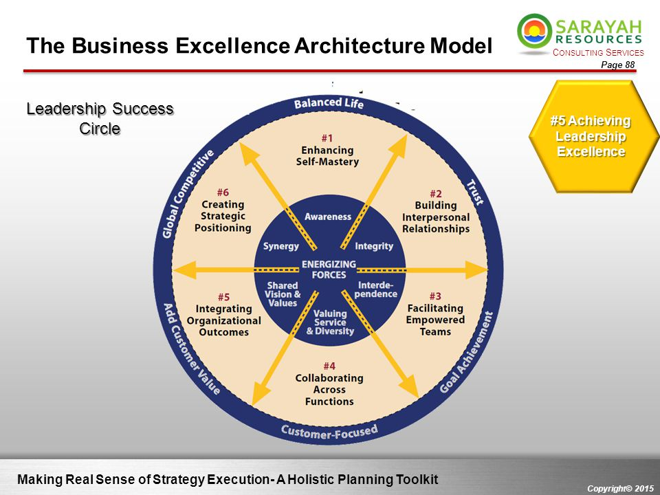C ONSULTING S ERVICES Copyright© 2015 Page 88 Making Real Sense of Strategy Execution- A Holistic Planning Toolkit #5 Achieving Leadership Excellence