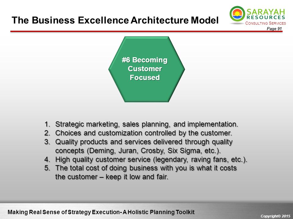 C ONSULTING S ERVICES Copyright© 2015 Page 91 Making Real Sense of Strategy Execution- A Holistic Planning Toolkit The Business Excellence Architectur