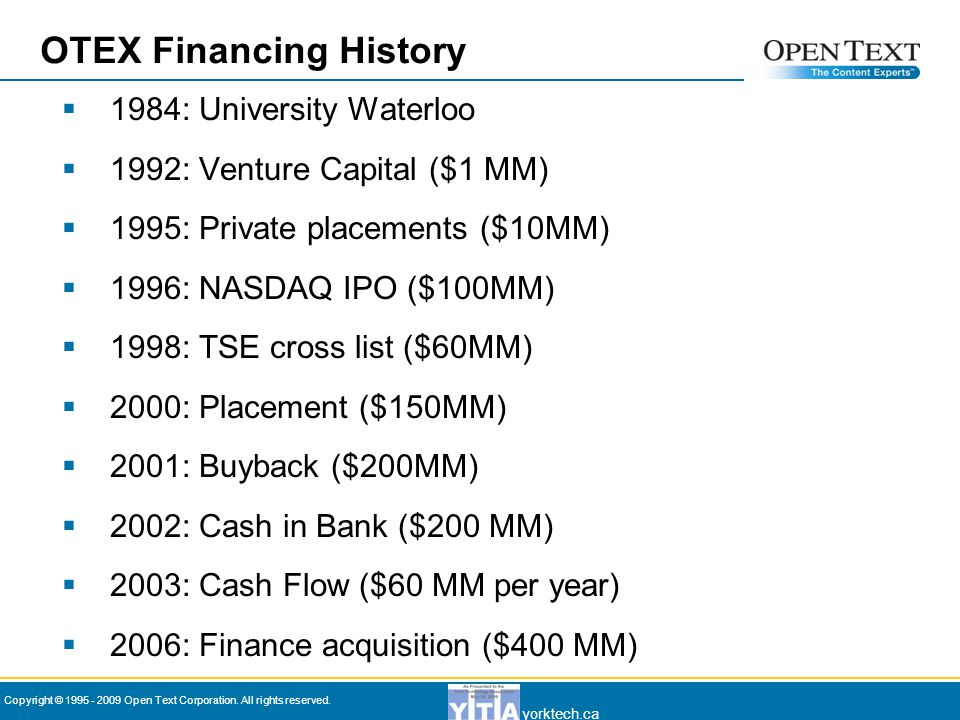 yorktech.ca Copyright © 1995 - 2009 Open Text Corporation. All rights reserved.  1984: University Waterloo  1992: Venture Capital ($1 MM)  1995: Pr