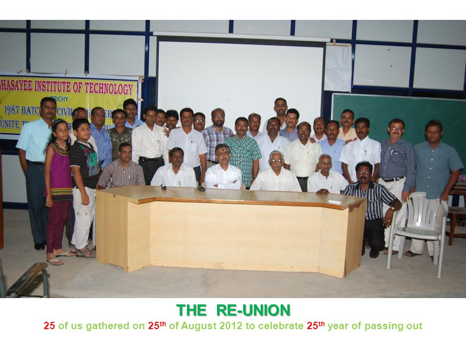 THE RE-UNION 25 of us gathered on 25 th of August 2012 to celebrate 25 th year of passing out
