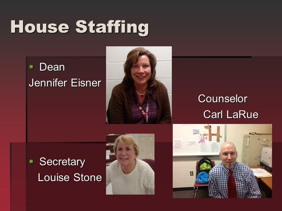 House Staffing  Dean Jennifer Eisner Counselor Carl LaRue Carl LaRue  Secretary Louise Stone Louise Stone